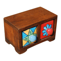 Sierra Living Concepts - Hand Painted Ceramic & Mango Wood 2 Drawer Jewelry Treasure Box - Bring a little bit of the color and fun of the 60's home with our two drawer pillbox. The solid hardwood box has a warmstain with short rounded legs. The ceramic drawers have hand painted fronts with rounded knobs and white interior.