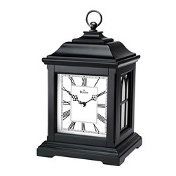 BULOVA - Lanterna Lantern-style Mantel Clock - Solid wood and wood veneer lantern-style case