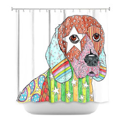 DiaNoche Designs - Shower Curtain Artistic - Beagle Dog - DiaNoche Designs works with artists from around the world to bring unique, artistic products to decorate all aspects of your home.  Our designer Shower Curtains will be the talk of every guest to visit your bathroom!  Our Shower Curtains have Sewn reinforced holes for curtain rings, Shower Curtain Rings Not Included.  Dye Sublimation printing adheres the ink to the material for long life and durability. Machine Wash upon arrival for maximum softness. Made in USA.  Shower Curtain Rings Not Included.