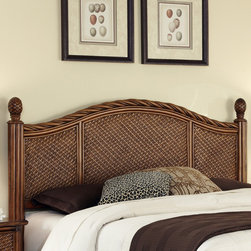 None - Marco Island Queen/Full Headboard - This Marco Island headboard showcases island-inspired design and a rich blend of materials including natural rattan woven wicker and mahogany solids. Beautifully carved pineapple finials complement the flowing good-looks of this headboard.