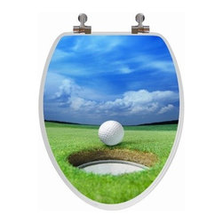 Topseat 6TS3E4151CP Golf Elongated 3D Toilet Seat - The Topseat 6TS3E4151CP Golf Elongated 3D Toilet Seat makes a great gift for sports enthusiasts. Its lid features a putting green motif rendered with lifelike quality by lenticular lens printing that give the image a 3D effect and digital crispness. The seat is made from solid wood and is protected with a white finish. Its elongated design fits most standard toilets with an inch of intentional overhang. Comes with chrome metal hinges and installation hardware (nuts/bolts/washers).