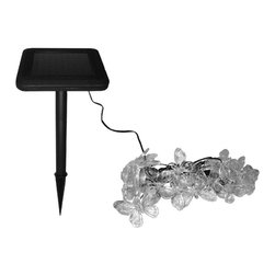 "Smart Solar - Solar Light String - 20PC Set - Butterfly - Ideal for decorating shrubs, parasols and doorways  . Powered by a separate amorphous solar panel allowing lights to be placed in shady areas . 20 energy-saving multi color LED's with translucent stylized covers . LEDs supplied on 17.25 ft string, 5.5"" spacing with 8.5 ft. lead wire from first light to panel . Automatically illuminate during darkness . Up to 6 hours of light each night when fully charged . Replaceable rechargeable Lithium Ion battery . No wiring, simply install and enjoy . No operating costs . Retail boxes with 'Try Me' button available. Solar panel . Voltage: 4.0V . Current: 70mA . Power: 0.28W . Battery . Voltage: 3.2V . Capacity: 600mAh Li-Ion AA x 1 . 10.63 in. L x 3.15 in. W x 7.28 in. H (1.3 lbs.)In line with our policy of continuous product development Smart Solar reserves the right to change, vary or alter the product specification without prior notification."