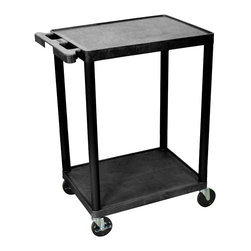 """Luxor - Luxor Transport Cart - HE32-B - The HE32 is a two shelf utility cart made of high density polyethylene structural foam molded plastic shelves and legs that won't stain, scratch, dent or rust. Features a retaining lip around the back and sides of flat shelves. Includes four heavy duty 4"""" casters, two with brake. Has a push handle molded into the top shelf. All shelves are reinforced with two aluminum bars."""