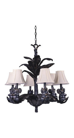 Triarch - Triarch Elephant 6 Light Chandelier X-33313 - Elephant 6 light chandelier in a bronze silver patina finish with antique gold highlights and silk shades.