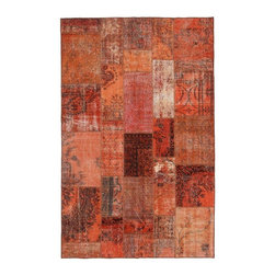"""Pre-owned Persimmon Overdyed Turkish Patchwork Carpet - Traditional Turkish patterns from an assortment of vintage pieces mix to make this hand made, naturally distressed vintage rug. Full cotton backing and decorative blanket stitch edging.    Remnants of vintage wool on a cotton warp, made entirely by hand in the '60's through '80's when Turkish women still included weaving in their daily homemaking chores. Employing the sturdy double knot technique unique to Turkish rugs, multicolor floral and medallion motifs were created a row at a time using bright hand dyed wools. Considered too old fashioned for modern Turkish homes in their traditional incarnations, these rugs have languished in back rooms of the bazaars‰Ű_until now, as these fragments in excellent condition are overdyed and combined to create modern patchwork statements for the floor.    Note from the seller: """"Our revitalization process keeps rugs that may otherwise get tossed out of landfill. Repurposed discards are helping artisans connect and create, supporting the community we're building here in Istanbul to revive vanishing traditional fiber crafts.‰Űť    Please note that all sales are final - These amazing rugs are coming direct from Istanbul, Turkey and returns will not be allowed."""