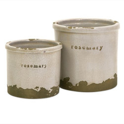 "Imax Worldwide Home - Rosemary Herb Pots - Set of 2 - Perfectly sized, this set of two rosemary herb pots is made of red clay and kiln fired to perfection. Finished in a white crackle glaze, rough edges are purposely exposed to add character.; Country of Origin: Phillipines; Weight: 1.85 lbs; Dimensions: 4.25-5.75""h x 5-6.25""d"