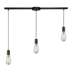 Elk Lighting - Elk Lighting 60046-3L Oiled Bronze Menlow Park Three-Light Kitchen Island Fixtur - Industrial Inventions Of Yesteryear Are Reclaimed And Reinterpreted To Deliver The Style Demands Of Today. This Classis Filament Style Bulb Can Either Be Showcased Within A Clear Blown Glass Shade Or Proudly Shown Alone. A Cloth Cord And Oiled Bronze Finish Add Authentic Charm And Versatility.