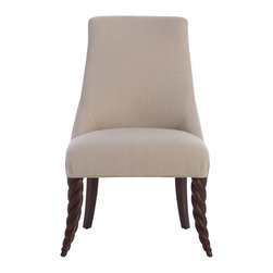 Arteriors - Kudu Dining Chair - The arching twist of this chair was inspired byt the horns of a Kudu, an African game antelope. Its classic, almost Roman silhouette lends transitional elegance to modern or traditional spaces as a dining, desk, vanity or game chair. Finished in waxed walnut or ivory and upholstered in  linen.