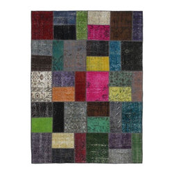 """Pre-owned Saturated Multicolor Mix Turkish Patchwork Carpet - Modern and traditional Turkish patterns from an assortment of vintage pieces mix to make this hand made, naturally distressed vintage rug. Full cotton backing and decorative blanket stitch edging.     Remnants of vintage wool on a cotton warp, made entirely by hand in the '60's through '80's when Turkish women still included weaving in their daily homemaking chores. Employing the sturdy double knot technique unique to Turkish rugs, multicolor floral and medallion motifs were created a row at a time using bright hand dyed wools. Considered too old fashioned for modern Turkish homes in their traditional incarnations, these rugs have languished in back rooms of the bazaars‰Ű_until now, as these fragments in excellent condition are overdyed and combined to create modern patchwork statements for the floor.    Note from the seller: """"Our revitalization process keeps rugs that may otherwise get tossed out of landfill. Repurposed discards are helping artisans connect and create, supporting the community we're building here in Istanbul to revive vanishing traditional fiber crafts.‰Űť    Please note that all sales are final - These amazing rugs are coming direct from Istanbul, Turkey and returns will not be allowed."""