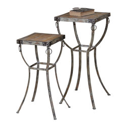Uttermost - Uttermost Hewson Plant Stands Set/2 - Hewson Plant Stands Set/2 by Uttermost Old World, Rustic Metal Pedestals With Rivet And Ring Details And Deep Grained, Natural Wooden Tops. Sizes: Sm-12x26x12, Lg-16x32x16