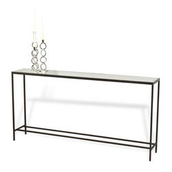 Interlude Home - Interlude Home Hayward Console Table - This Interlude Home Console Table is crafted from Metal and Mirror and finished in Natural Rust and Antique Mirror.  Overall size is:  60 in. W  x  10 in. D x 30 in. H.