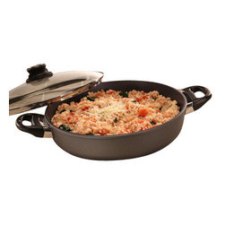 "Swiss Diamond - Induction Nonstick Sauteuse with Lid - 3.7 qt (11"") - Begin your favorite recipe on the stovetop and finish it in the oven with the Swiss Diamond 11 inch (3.7-quart) Induction Sauteuse. With a cooking depth of approximately 2.4 inches, this piece is the ideal size for easy stirring and fits comfortably on an oven rack allowing room for other bake ware. The patented coating is embedded with real diamond crystals to create a naturally nonstick surface that washes clean with just hot soapy water. Ergonomically designed handles are securely attached without rivets to prevent bacteria build-up. Oven-safe up to 500F  not suitable for use on a broiler. Includes heat-tempered glass lid."