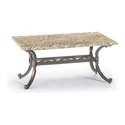 Frontgate - Carlisle Granite-top Outdoor Coffee Table in Gray Finish, Patio Furniture - Fine-furniture design. Smoothly polished Venetian gold granite top with enhanced UV protection. Base is 100% ingot aluminum, a premium quality material. Hand-filed welds. Rich, multilayered slate finish with UV protected top coat. Our Carlisle Slate Granite-top Coffee Table's impeccable materials and craftsmanship will stand the test of time. The Venetian gold granite top is smoothly finished and sealed for lasting beauty. Elegant, cast-aluminum base has a rich, multilayered slate finish. Part of the Carlisle Slate Collection.  .  .  .  .  . Granite is a natural product and may have slight variation in color and pattern on each table. Granite Care: Cover in cold weather months; no sealant is required. Granite top rests on the base, does not require any hardware . Assembly required on base .