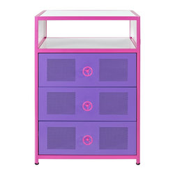 Powell - Powell Girls Buggy 3 Drawer Box X-810-391 - The Girls Buggy Chest is perfect for adding an eyecatching, fun accent to a little girls bedroom. The perfect complement to the Girls Jeep Bed or an accent piece to navigate any girls jungle. Three roomy drawers and a shelf for all of her treasures, this piece provides ample storage space. The bright pink, purple and white finish will add a fun look to any space.