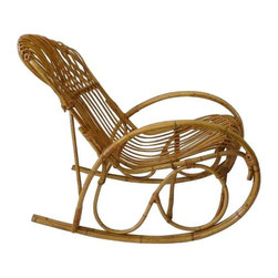Used Franco Albini Style Vintage Bamboo Rattan Rocker - A Franco Albini style Mid-Century bent bamboo and rattan rocking chair. This rocker has graceful curves and would add great texture and a natural feel to any room. The chair is in excellent condition and very comfortable! The length from the back legs to the front is 38 inches.