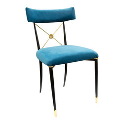 """Jonathan Adler - Jonathan Adler Rider Dining Chair Teal & Brass - Modern elegance meets French flair to form the Jonathan Adler Rider dining chair. Accenting sleek black and brass legs, the distinct seat features a curved blue design. 17""""W x 19""""D x 32""""H; Peacock blue velvet upholstery; Brass accents; Foam-padded seat; Handcrafted"""