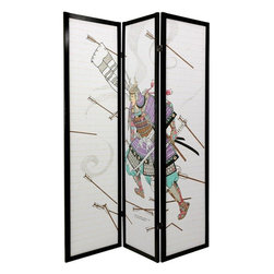 Oriental Furniture - 6 ft. Tall Samurai Shoji Screen - 3 Panel - A black finish matchstick room divider with a powerful, Japanese woodblock style image. Printed on the front of the shade is a samurai warrior in full armor, sword drawn, charging into a hail of arrows. Display as an art screen, or for privacy and to define space.