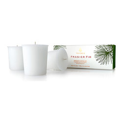 Frasier Fir Votives, Set of 3 - Just in time for the Winter Solstice and the Christmas holidays, Thymes Frasier Fir Votives are the perfect addition to any seasonal celebrations. Sets the mood by setting a few out when your guests arrive and provide a beautiful scented ambiance that features a fresh cut forest fragrance of Siberian Fir and notes of citrus, sandalwood, and cedar that merge to delight the senses. The season isn't complete without the rich, cozy, mountain fresh scent of Frasier Fir to awaken the senses and help get one in the mood for the holidays.