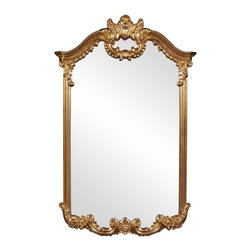 Howard Elliott - Roman Gold Mirror - This neo classical mirror features an ornate frame of bright gold leaf.