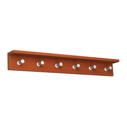 "Safco - Contempo Wood Wall Rack, 6 Hook - Cherry - Be Contempo. The contemporary design adds style and functionality to your office or reception area. These wood based coat racks come in two finishes: Medium Oak (MO), Mahogany (MH) and Cherry (CY) and include an integrated shelf to hold your personal items (compact umbrella, sunglasses, cell phone, etc...) The satin aluminum hooks are conical shaped to protect your garments, yet offer a distinctive touch. Choose from three sizes (2, 4 or 6 hook) to be used alone or in combination to meet your garment storage needs.; Features: Material: Aluminum, 3/4"" Compressed Wood; Color: Cherry; Finished Product Weight: 6.6 lbs.; Assembly Required: No; Limited Lifetime Warranty; Dimensions: 36""W x 4""D x 4 3/4""H"