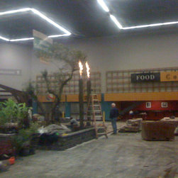 Fire Columns - Towering Fire Features of cored, single basalt columns approx. 10in in diameter x 10 ft height. with mounting stands and plumbing components for natural gas or propane. Flames can be adjusted from barely there to over 4ft of blazing glory