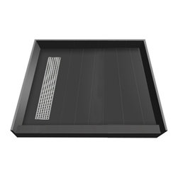 Tileredi - TileRedi RT4242L-PVC-SQBN 42x42 Single Curb Pan L Trench - TileRedi RT4242L-PVC-SQBN 42 inch D x 42 inch W, fully Integrated Shower Pan, with Left PVC Trench Drain, 31.5 inch Square Design Grate, Brushed Nickel finish