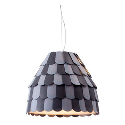 Zuo Modern Contemporary, Inc. - Mesocyclone Ceiling Lamp Gray - Like the shingles of a witch's house, the shade of the Mesocyclone Ceiling Lamp is intriguingly dark. Unlike the witch's hut, this lamp casts a warm and lovely light. Made of plastic and metal.