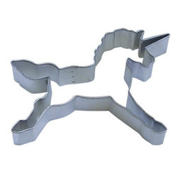 "RM - Unicorn 4.5 In. B1248X - Unicorn cookie cutter, made of sturdy tin, Size 4.5"" tail to horn point, 3"" tall top of head to front hoof. Depth 7/8 in., Color silver."