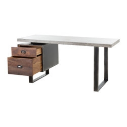 Marco Polo Imports - Gladstone Desk - Modern and sophisticated desk made from reclaimed Peroba wood, iron and concrete.