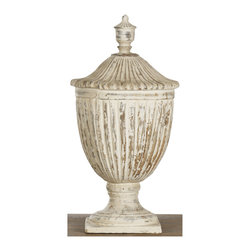 Kathy Kuo Home - Oriana French Country Antique White Ceramic Decorative Urn - This scalloped accent piece provides a chic country style addition to any room. Cast from porcelain ceramic, the white distressed finish evokes nostalgia for a vintage French country setting of time past.