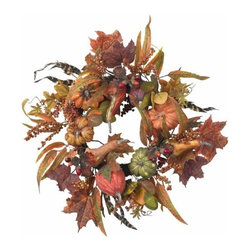 Nearly Natural - 24 Inch Pumpkin and Berry Wreath - The perfect complement to our other Pumpkin offerings, this exceptional wreath signifies the arrival of the harvest season, and perfectly embodies the spirit of autumn. Bursting with bounty (faux, of course) in almost every color and texture imaginable, this is a wreath that will add to any holiday decor for years to come. It also makes a perfect gift for that hard to buy for person.