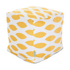 Majestic Home - Indoor Yellow Alli Small Cube - Here's an idea that's cool, cubed! An update on the beanbag, this piece serves as a footstool, side table or totally comfy seat, so it's a stylish, versatile addition to your favorite casual setting. And talk about easy care: Just unzip the slip and toss in the wash.