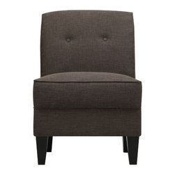 Handy Living - Courtney Chair - Features: -Armless chair.-100% Polyester linen-look fabric that complements all decor.-Transitionally designed chair features a button tufted back.-Stylish curved back for added comfort.-Attached box seat cushion.-Plush foam and fiber seating with an independently wrapped pocket coil spring system and no-sag springs.-Sturdy mixed hardwood frame that is glued and corner blocked.-Handy lock easy connect, simply slide.-Break it back down to recycle at the end of use for additional peace of mind.-Eco-friendly and efficient product design uses less fossil fuel based components in construction and delivery.-Tapered wooden legs with a dark espresso finish.-Upholstered: Yes -Upholstery Material: Fabric.-Cushion or Upholstery Fill Material: Foam; Fiberfill.-Pattern: Solid..-Distressed: No.-Chair Design: Slipper Chair.-Collection: Courtney.-Wood Tone: Dark.-Hardware Finish: Zinc plated.-Powder Coated Finish: No.-Gloss Finish: No.-Frame Material: Mixed hardwood.-Hardware Material: Zinc.-Solid Wood Construction: No.-Number of Items Included: 1.-Non-Toxic: Yes.-Water Resistant: No.-Fire Resistant: No.-Scratch Resistant: No.-Stain Resistant: No.-Fade Resistant: No.-UV Resistant: No.-Seating Comfort: Medium.-Removable Seat Cushion: No.-Removable Back Cushion: No.-Reversible Cushions: No.-Removable Cushion Cover: No.-Welt on Cushions: Yes.-Tufted Cushions: Yes.-Slipcovered: No.-Skirted: No.-Ottoman Available: Yes.-Ottoman Included: No.-Toss Pillows Included: No.-Adjustable Height: No.-Adjustable Headrest: No.-Convertible Positions: No.-Style: Transitional.-Rocker: No.-Swivel: No.-Stackable: No.-Foldable: No.-Arms Included: No.-Removable Legs: Yes.-Leg Material: Wood.-Leg Finish: Espresso.-Casters: No.-Nailhead Trim: No.-Hand Painted: No.-Outdoor Use: No.-Weight Capacity: 300 lbs.-Swatch Available: Yes.-Commercial Use: No.-Recycled Content: No.-Eco-Friendly: No.-Product Care: Spot clean with cold water and mild soap.Specifications: -FSC Certified: No.