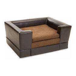 Great Deal Furniture - Rover Chocolate Brown Leather Dog Sofa Bed, Midsize - Let your pet relax in style at no cost to comfort with the Rover Dog Sofa Bed. This sofa is upholstered in a polyurethane leather with a fabric area for your pet to comfortably lay. Designed with style in mind, this chocolate brown is neutral to match the indoor or outdoor decor of any home, while allowing your best friend to relax in style!