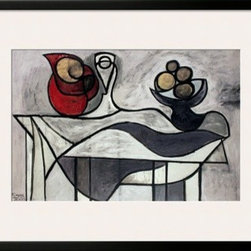 Artcom - Pitcher and Bowl of Fruit by Pablo Picasso - Pitcher and Bowl of Fruit by Pablo Picasso is a Framed Art Print set with a SOHO Black wood frame and a Polar White mat.