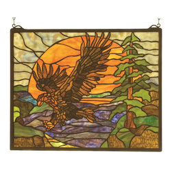 Meyda Tiffany - Meyda Tiffany 98106 Eagle At Sunset Window - A majestic Bronze Eagle soars against an golden Sunset in a picturesque woodland setting of Pine Green and Earth Brown. This handsome window is handcrafted utilizing the copperfoil construction process and 323 pieces of stained art glass encased in a solid brass frame. Mounting bracket and chain are included.