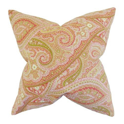 """The Pillow Collection - Uma Paisley Pillow, Melon 20"""" x 20"""" - Add an artistic punch to your rooms with this interesting decor piece."""
