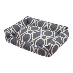 Jax & Bones - Jax & Bones Cotton Blends Lounge Bed Solar Large - The Jax and Bones cotton blends lounge bed is perfect for your dog for lazing around, snuggling, curling into, and leaning against. The warmth and extra reassurance this bed provides lets your dog remain comfortable and happy. With extremely unique range of designs, these beds are easy to maintain and made from the highest quality material especially considering we use an eco-friendly fiber called Sustainafill.  A diverse selection of heavy weight fabrics that are machine washable and luxurious to the touch. Most of these fabrics carry a texture that will create a uber luxurious upholstery feeling dog bed. Great for medium to high traffic use and homes that want a more unique design. Machine washable, low heat tumble recommended! 100% Machine Washable and filled with Sustainafill, an eco-friendly fiber.
