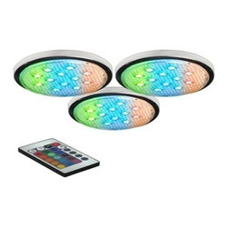 BAZZ - BAZZ LED RGB Under-Cabinet Puck Lights (3-Pack) LED103RB - Shop for Lighting & Fans at The Home Depot. These unique LED multi-color pucks are sure to add to many locations within your home. The flexibitlity of being linkable gives you many options, particularly for undercabinet use. Convenient three pack of pucks.