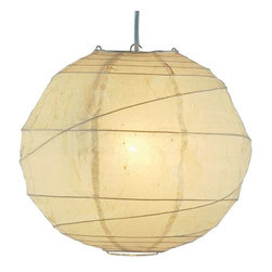 Adesso - Adesso Orb Large Pendant, Natural S1 - Natural round rice paper collapsible shades with uneven bamboo ribs. 15 in cord with socket and hanging apparatus included. Line switch. 100 Watt incandescent or 26 Watt CFL bulb. 24 in Diameter.