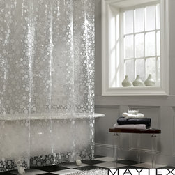 Maytex - Maytex Circles PEVA Shower Curtain - The slightly see-though lenticular bubble design on this shower curtain features fun circles and a dimensional texture.  This PEVA curtain contains no harmful chlorides compared to traditional vinyl shower curtains and has no odor.