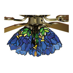 Meyda Tiffany - Meyda Tiffany Iris Ceiling Fan Light Shade X-38472 - This elegant Meyda Tiffany ceiling fan light shade from the Iris Collection features a bold cobalt blue hue that accentuates the floral inspired design. The base features classic greens, browns and yellows that compliment the floral patterning and pull this look together.