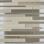 "Glass & Stone Mosaic - Ceramic Tileworks  - Ike Glass & Stone Mosaic - Moca Blend (12"" x 12"" Sheet)"