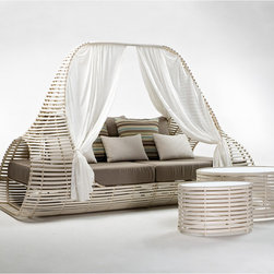 Kenneth Cobonpue - Kenneth Cobonpue Lolah Day Bed - This woven daybed is constructed of rattan for the indoor version and polyetheylene for the outdoor version. Bothon aaluminum base. Available in brown orwhitewashfinish. Price includes shipping to the USA. Manufactured by Kenneth Cobonpue in the Philippines.