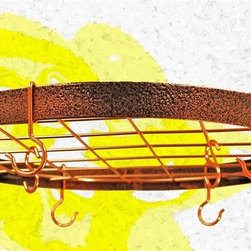 Rogar - Round Pot Rack in Hammered Copper w Hooks - Great for smaller kitchens. Includes 6 Eye and 2 Grid Hooks. Hammered Copper w Copper accessories. 20 in. L x 20 in. W x 2 in. H (6 lbs.)