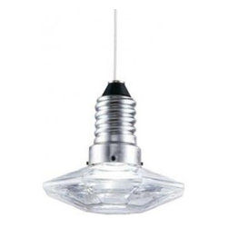Katia Krystal LED Pendant Lamp - Katia Krystal LED Pendant LampInspired by Terzani Kristal Diam 8/8 Pendant.  The Katia is made of thick glass and made to look like a cut crystal light bulb socket. Powered by energy saving LED, does not require a light bulb..Material: Glass, Metal