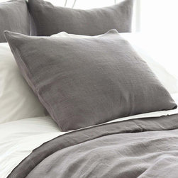 Pine Cone Hill - PCH Stone Washed Linen Shale Pillow Sham - Lightweight and soft, the Stone Washed pillow sham sets a comfortable, modern tone in shale gray. This tailored PCH bedding accent by PCH dresses the bed with casual sophistication. Available in standard and euro; 100% linen; Tie closure; Designed by Pine Cone Hill, an Annie Selke company; Machine wash