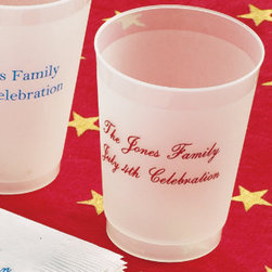 Grandin Road - Set of 100 10-oz. Frosted Personalized Tumblers - Our festive Personalized Serving Accessories provide an effortless way to serve refreshments at summer barbecues, picnics and 4th of July parties. Customize these disposable cups and beverage napkins with your three-letter monogram or a special greeting for guests to add a personal touch to your outdoor party. Each party accessory comes in convenient sets of 100 to cater to large-scale outdoor entertaining. Personalized items are non-returnable. Monogram letters will appear in the order in which they are entered.