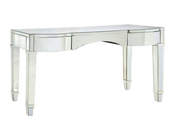 "Bungalow 5 - Bungalow 5 Cunard Vanity/Desk - The Bungalow 5 Cunard vanity lends the mod interior glamorous impact. Accenting gracefully tapered legs, this desk's rectangular top shines with beveled mirror surfaces. 55""W x 22.5""D x 30""H; One glide drawer"
