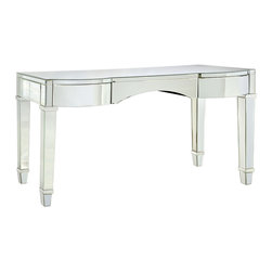 """Bungalow 5 - Bungalow 5 Cunard Vanity/Desk - The Bungalow 5 Cunard vanity lends the mod interior glamorous impact. Accenting gracefully tapered legs, this desk's rectangular top shines with beveled mirror surfaces. 55""""W x 22.5""""D x 30""""H; One glide drawer"""